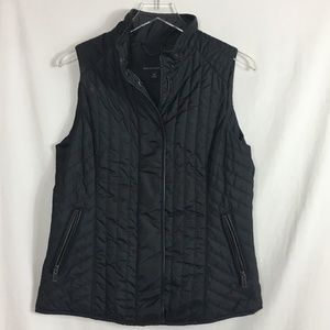 Banana Republic Quilted Vest Leather Trim